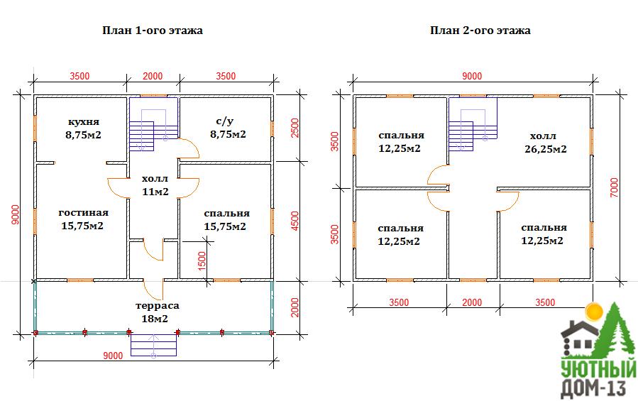 Планировка двухэтажного дома 6х8 8х8 9х9 10х10 6х6