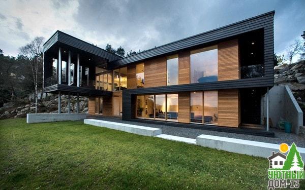 дом в современном стиле из бруса