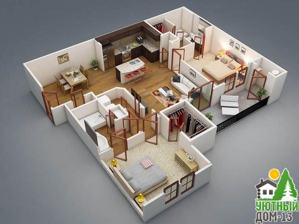 размеры комнат в частном доме