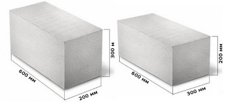 Примеры размеров газоблоков